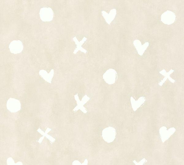 Vliestapete Herz Kreuz Punkt Muster beige grau