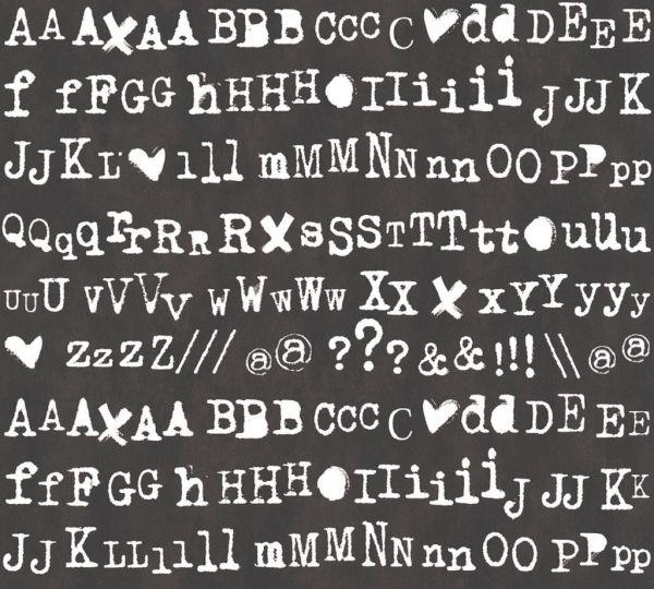 Buchstaben Schrift Vliestapete schwarz weiß