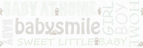 Tapeten Bordüre Schriftzug Baby Smile Home Teddy weiß mint