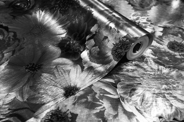 Luxus Blumen Tapete schwarz silber metallic glanz