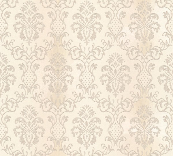 Vliestapete Barock Ornament creme weiß glanz