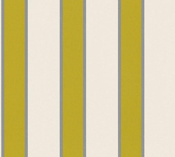 Vlies Tapete Streifen creme grün metallic
