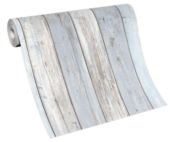 Vliestapete Holz verwittert blau grau