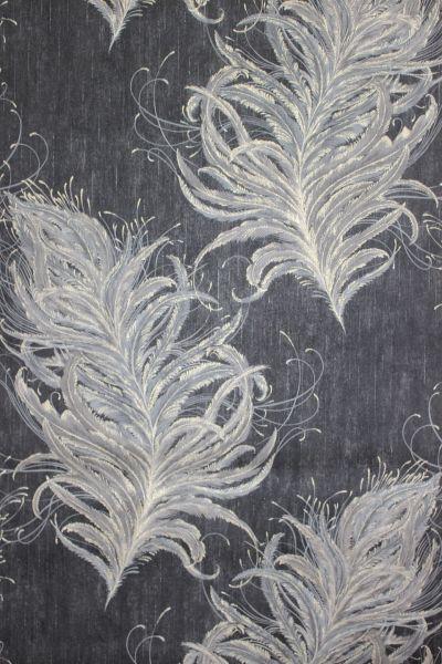 Vliestapete elegante Federn schwarz beige gold