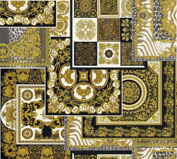 Versace 4 Patchwork Ornament Kacheln Tapete schwarz metallic