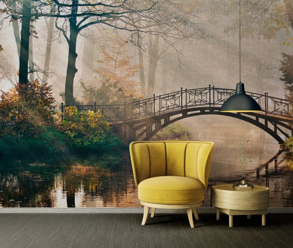 Fototapete Digitaldruck Parkbrücke im Nebel 255 x 350 cm