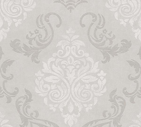 Vliestapete Barock Ornament Glitzer beige grau