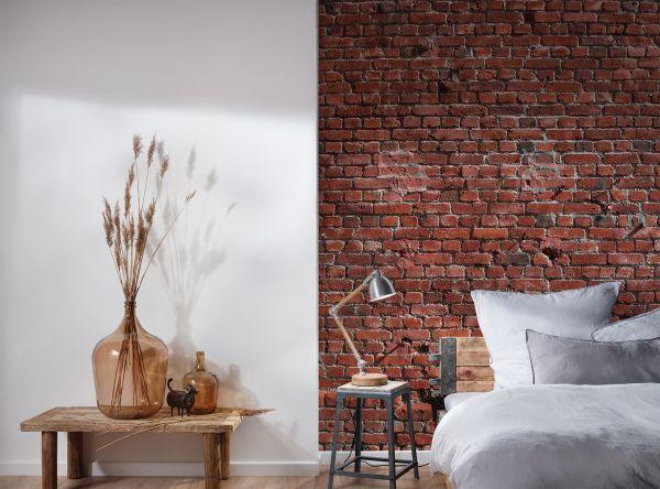 Fototapete Digitaldruck rote Ziegelsteinmauer 255 x 350 cm
