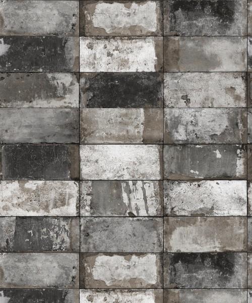 Vliestapete Stein Fliesen Riemchen Klinker grau silber metallic