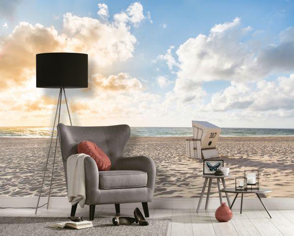 Fototapete Digitaldruck Strandkorb am Meer 255 x 350 cm