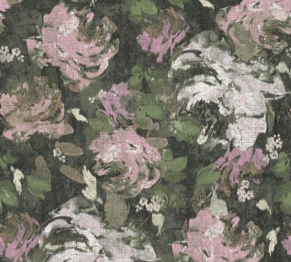 Florales Muster Vliestapete grün rosa Character