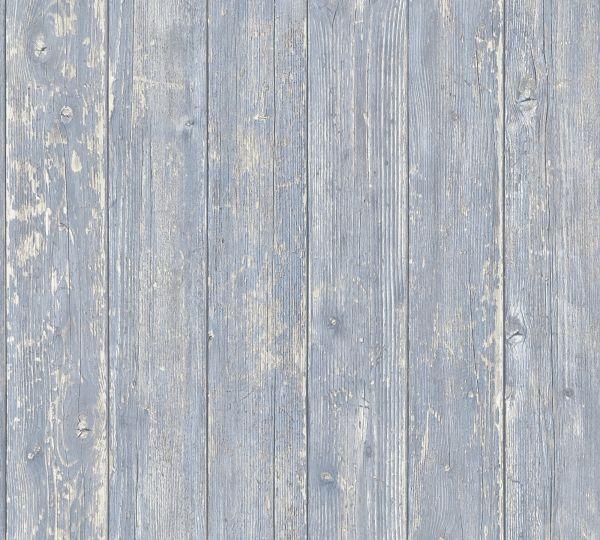 Vliestapete Landhaus Holzbalken Bretter blau beige verwittert