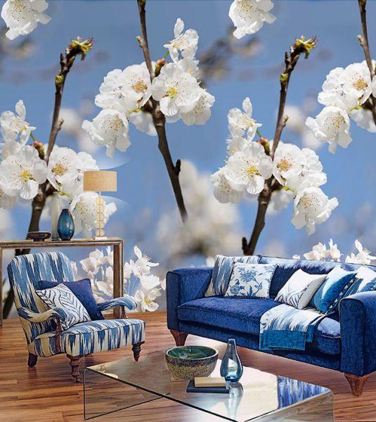 Vlies Foto Tapete Kirschblüten blau weiß floral Blumen 200x280cm