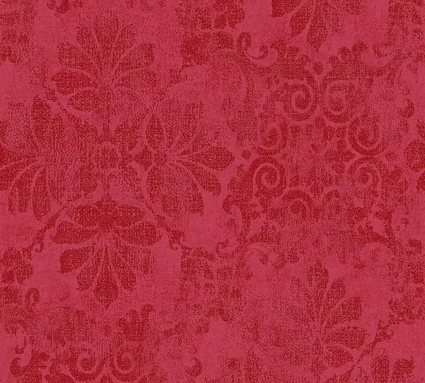 Vliestapete florales Ornament rot Glitzer