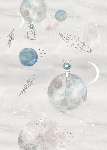 Vlies Fototapete Weltall Planeten grau Wandbild 200 x 280 cm