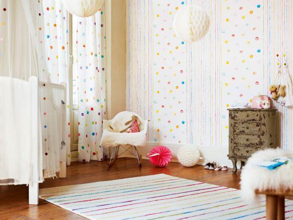 Esprit Kids Tapete Farbkleckse Punkte bunt
