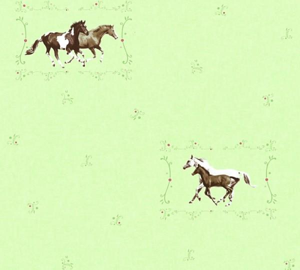 Kinder Vliestapete Pferde grün braun