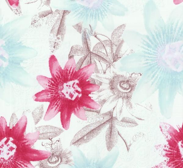 Guido Maria Kretschmer Vliestapete Blume pink hellblau