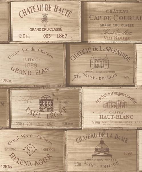 Vliestapete Wein Kisten Holz braun