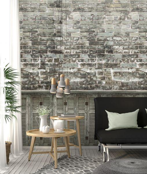 Vlies Fototapete Wandbild Steinwand Bruchstein Mauer grau verwittert 200x300 cm