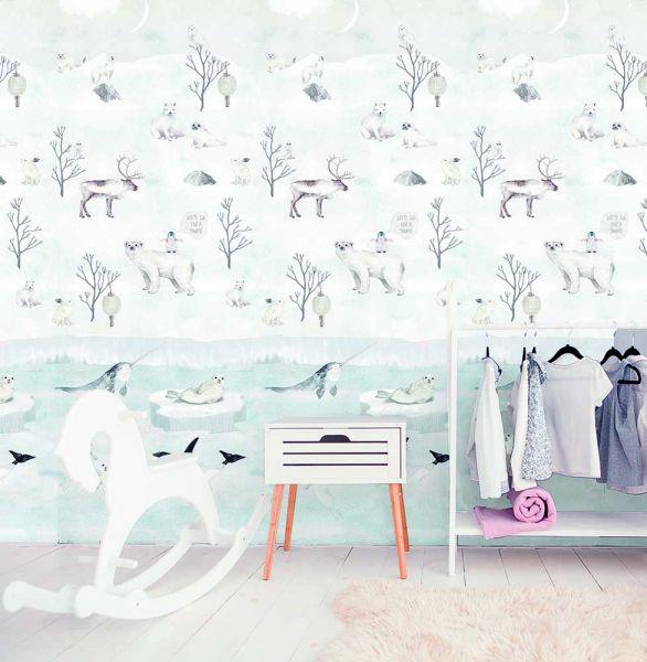 Vlies Fototapete weiße Winterlandschaft Wandbild 100 x 280 cm