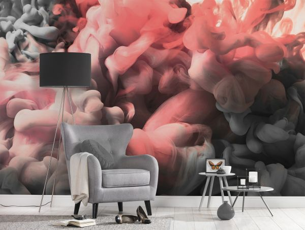 Fototapete Digitaldruck 3D Rauch rosa grau abstrakt 255 x 350 cm