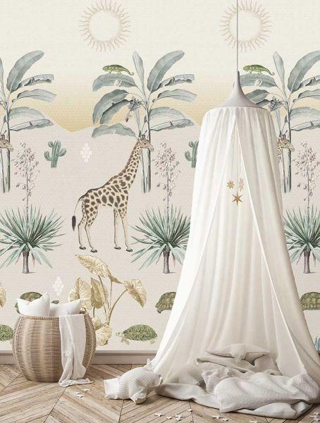 Vlies Fototapete Safari Giraffe bei Tag Wandbild 100 x 280 cm