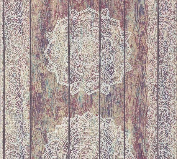 Vliestapete Mandala Holz Paneel Optik bunt grau