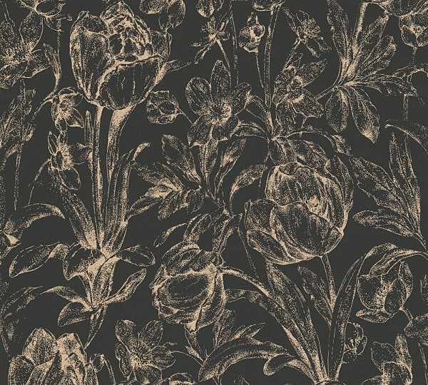 Vliestapete Floral schwarz gold glanz Memory 3