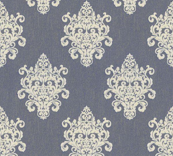 Vliestapete Barock Ornament blau weißgold Großrolle