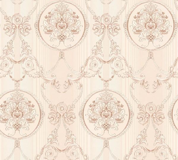 Vliestapete klassischer Barock creme rosa metallic
