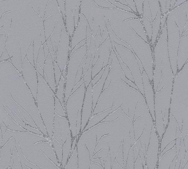 Vliestapete Natur Äste Zweige grau metallic