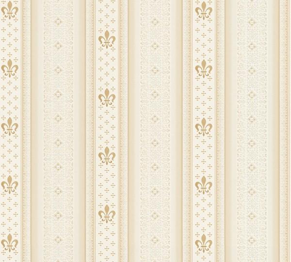 Vliestapete Streifen Heraldik Lilie creme weiß