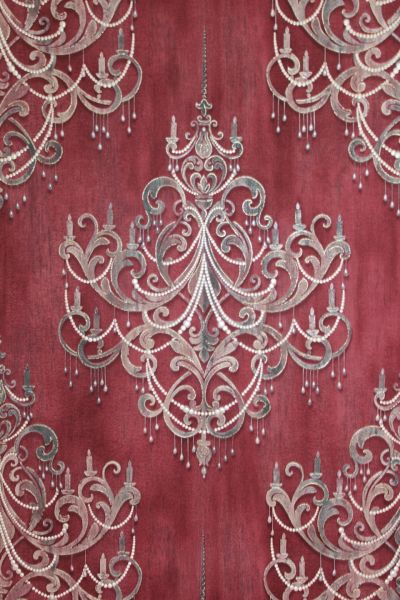 Vliestapete Kronleuchter Barock Ornament Perlen Muster klassisch bordeaux rot gold