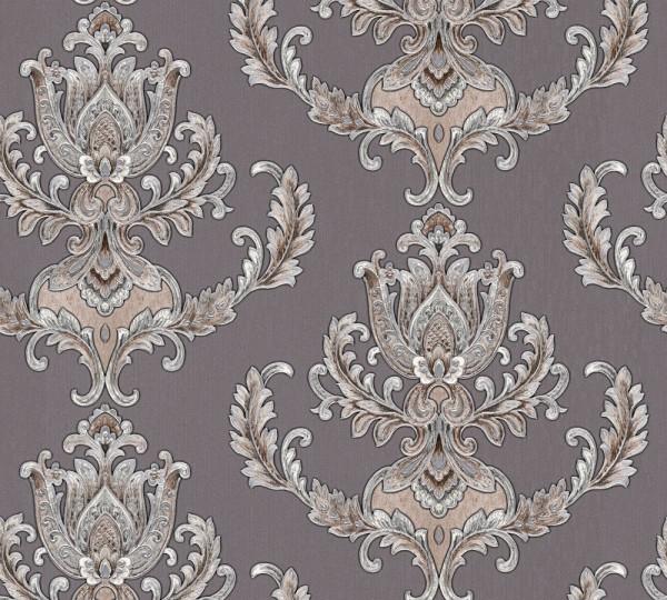 Vliestapete Floral Barock braun grau glanz