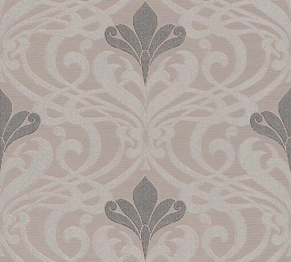 Barock Muster Damask Tapete taupe grau metallic