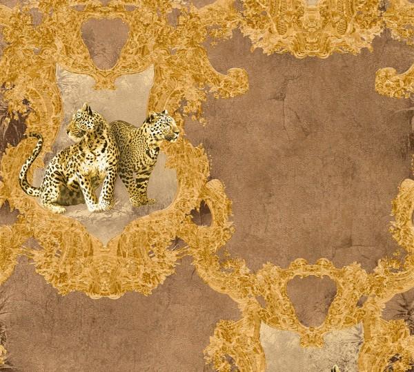 Vliestapete Leoparden braun gold Glanz
