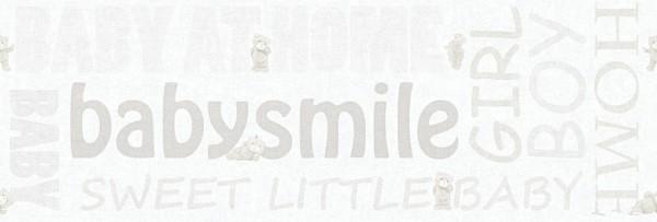 Tapeten Bordüre Schriftzug Baby Smile Home Teddy weiß creme