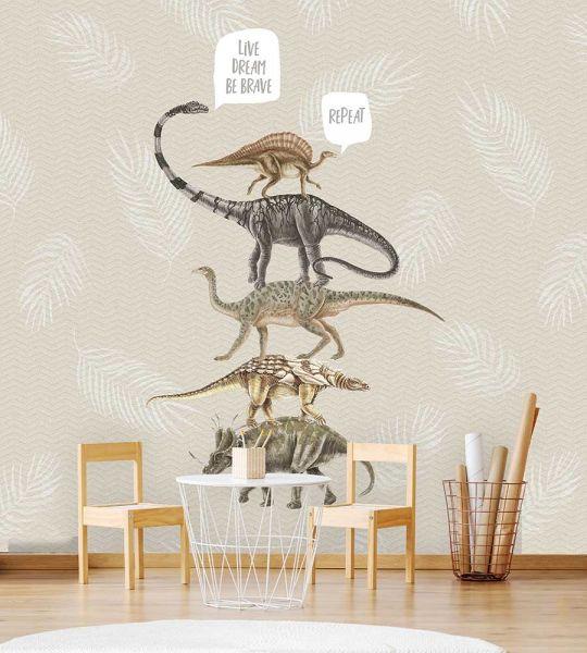 Vlies Fototapete Dinosaurier beige Wandbild 200 x 280 cm