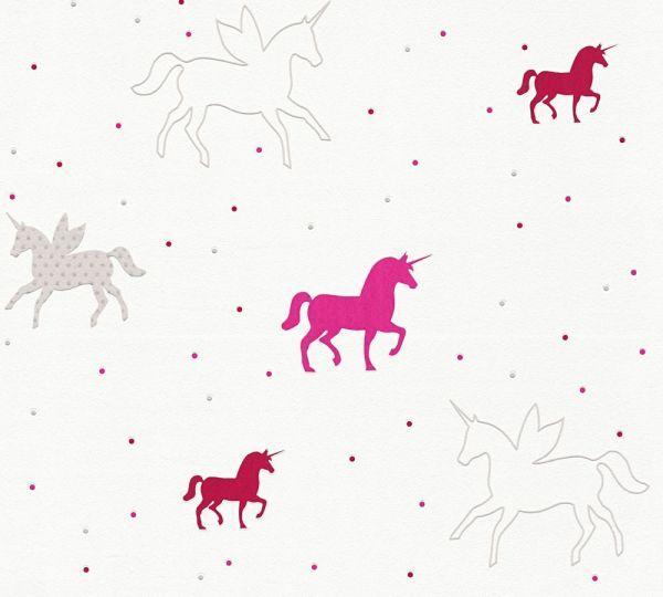 Vliestapete Esprit Kids Einhorn Glitze Pink Rot