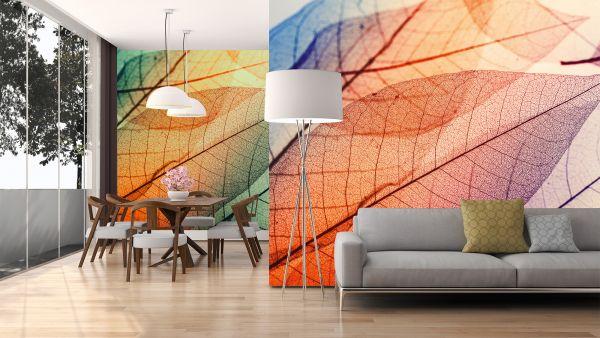 Fototapete Digitaldruck große Blätter orange 255 x 350 cm