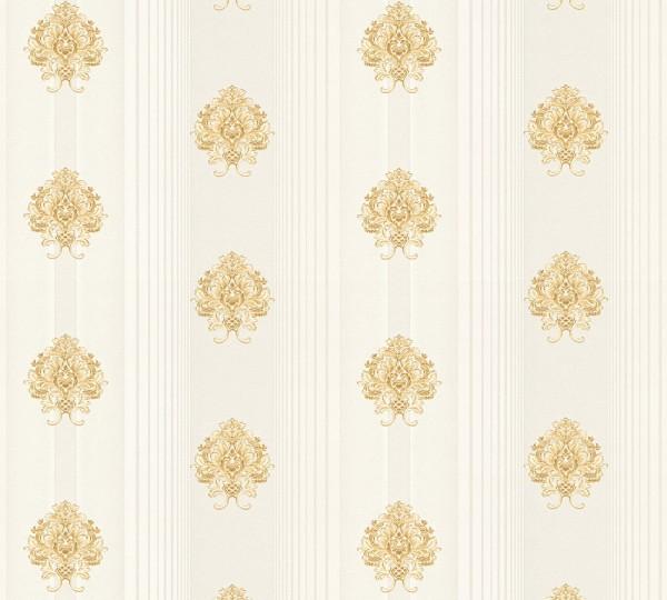 Vliestapete Streifen Barock Floral creme gold