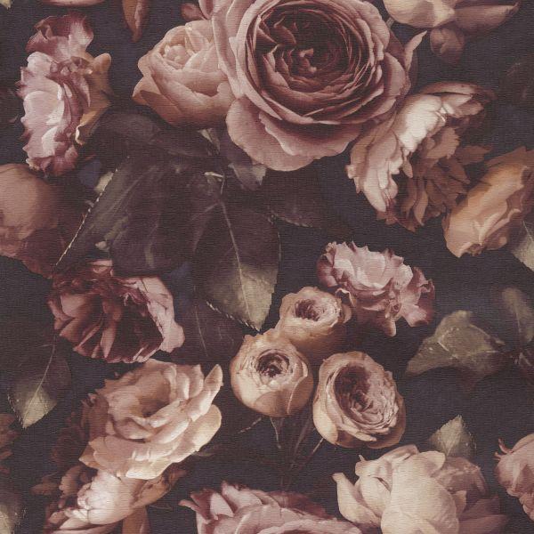 Struktur Vliestapete opulente Rosen rot braun Opus