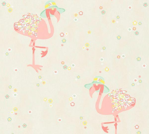 Vliestapete Flamingo Blumen creme beige rosa