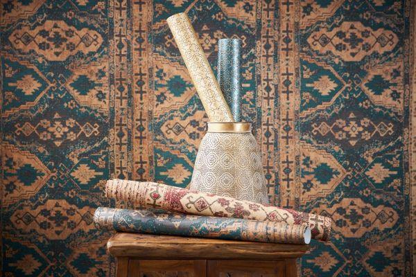 Vliestapete orientalischer Wandteppich Marrakesch grün braun