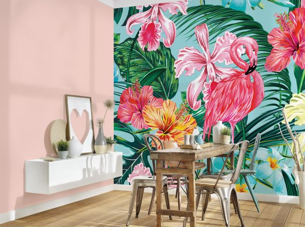Fototapete Digitaldruck Flamingo Blumen bunt 255 x 350 cm