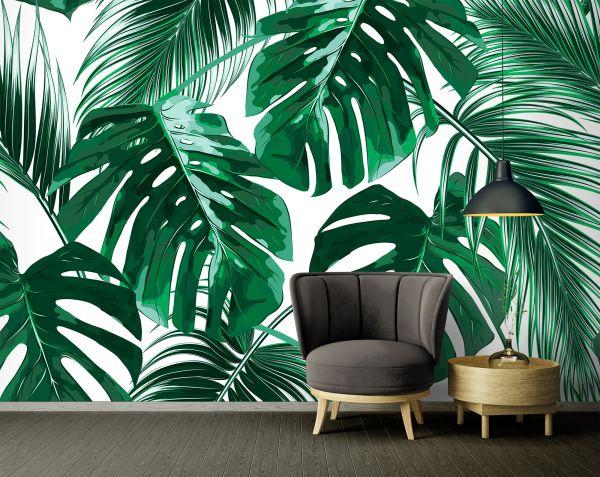 Fototapete Digitaldruck Gemälde Palmenblätter 255 x 350 cm