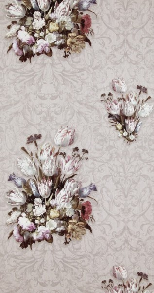 Vlies Tapete Florales Blumen Muster grau Tulpen