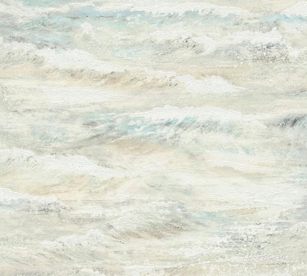 Vliestapete maritimer Wellen Optik beige blau grün Côte d`Azur