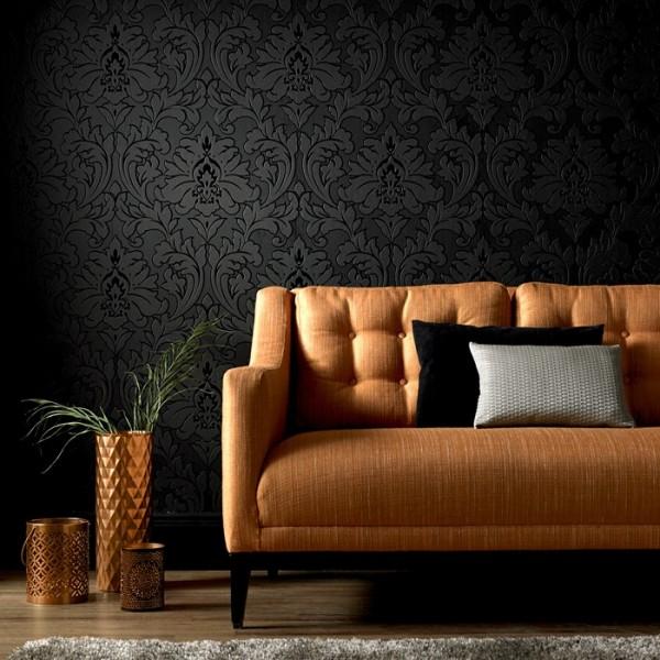Vlies Tapete Barock Muster Ornament metallic effekt schwarz glanz klassisch